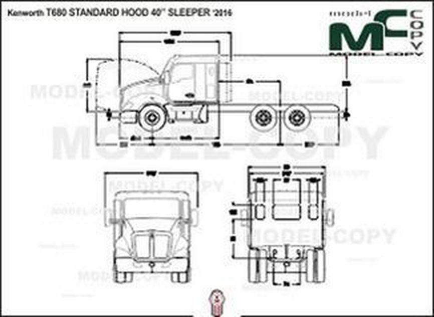 "Kenworth T680 STANDARD HOOD 40"" SLEEPER '2016 - 2D drawing (blueprints)"