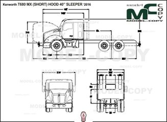 "Kenworth T680 MX (SHORT) HOOD 40"" SLEEPER '2016 - 2D drawing (blueprints)"