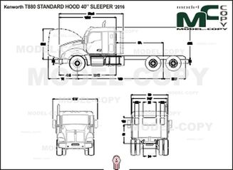 "Kenworth T880 STANDARD HOOD 40"" SLEEPER '2016 - 2D drawing (blueprints)"