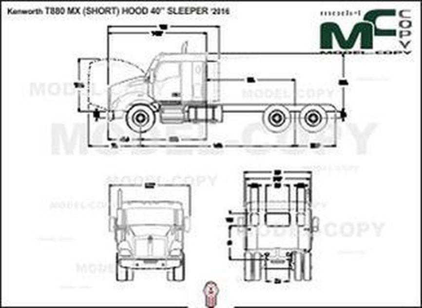 "Kenworth T880 MX (SHORT) HOOD 40"" SLEEPER '2016 - 2D drawing (blueprints)"