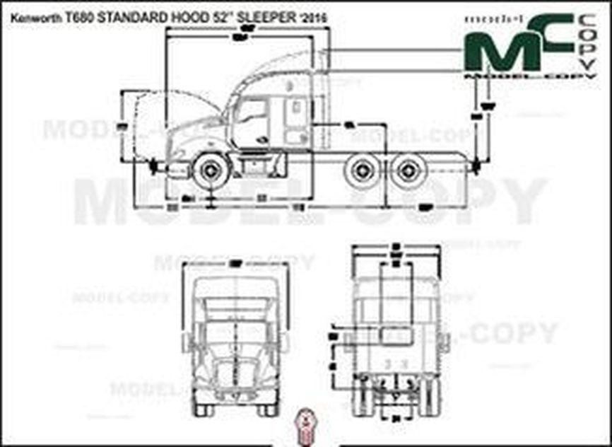 "Kenworth T680 STANDARD HOOD 52"" SLEEPER '2016 - 2D drawing (blueprints)"