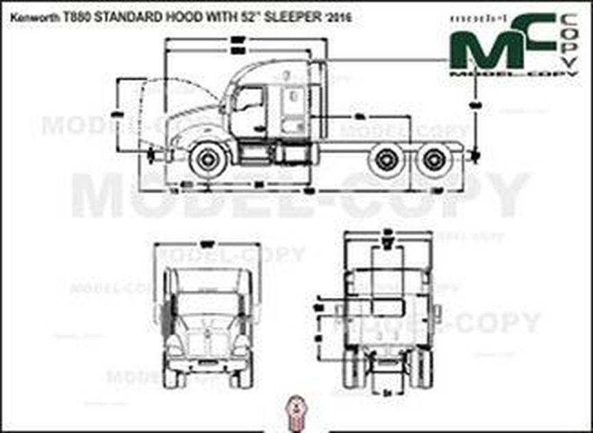 "Kenworth T880 STANDARD HOOD WITH 52"" SLEEPER '2016 - 2D drawing (blueprints)"