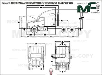 "Kenworth T680 STANDARD HOOD WITH 76"" HIGH-ROOF SLEEPER '2016 - 2D drawing (blueprints)"