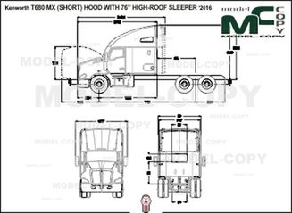 "Kenworth T680 MX (SHORT) HOOD WITH 76"" HIGH-ROOF SLEEPER '2016 - 2D drawing (blueprints)"