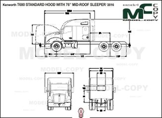 "Kenworth T680 STANDARD HOOD WITH 76"" MID-ROOF SLEEPER '2016 - 2D drawing (blueprints)"