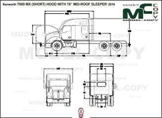 "Kenworth T680 MX (SHORT) HOOD WITH 76"" MID-ROOF SLEEPER '2016 - 2D drawing (blueprints)"