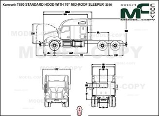 "Kenworth T880 STANDARD HOOD WITH 76"" MID-ROOF SLEEPER '2016 - drawing"