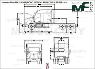 "Kenworth T880 MX (SHORT) HOOD WITH 76"" MID-ROOF SLEEPER '2016 - 2D drawing (blueprints)"