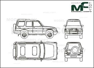 landrover discovery  3 doors  1994-1998  - drawing