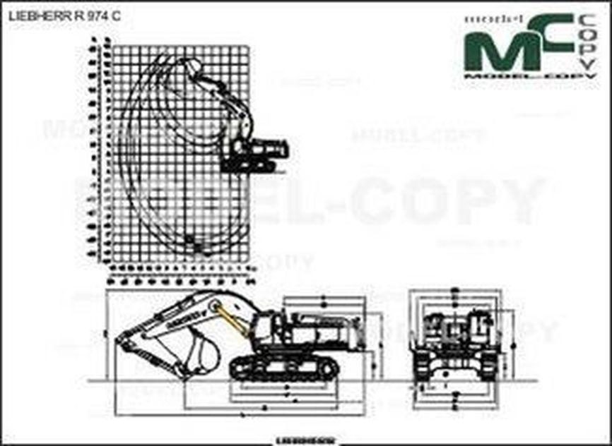 LIEBHERR R 974 C - 2D drawing (blueprints)