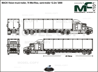 MACK Vision truck trailer, 70 Mid-Rise, semi-trailer 12.2m '2000 - 2D drawing (blueprints)