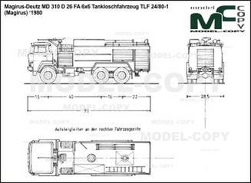Magirus-Deutz 310 D 26 FA 6x6 Tankloschfahrzeug TLF 24/80-1 (Magirus) '1980 - 2D drawing (blueprints)