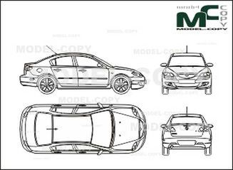 Mazda 3 with Saloon (2003) - drawing