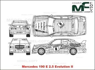 Mercedes-Benz 190 E 2.5 Evolution II - 2D drawing (blueprints)