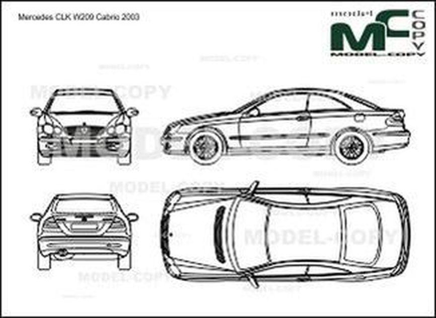 Mercedes-Benz CLK-Class W209 Coupe (2003) - 2D drawing (blueprints)