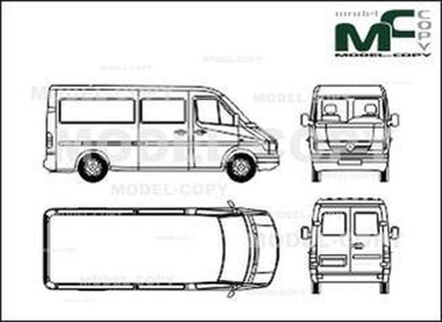 Mercedes-Benz Sprinter, combi, medium (1995) - 2D drawing (blueprints)