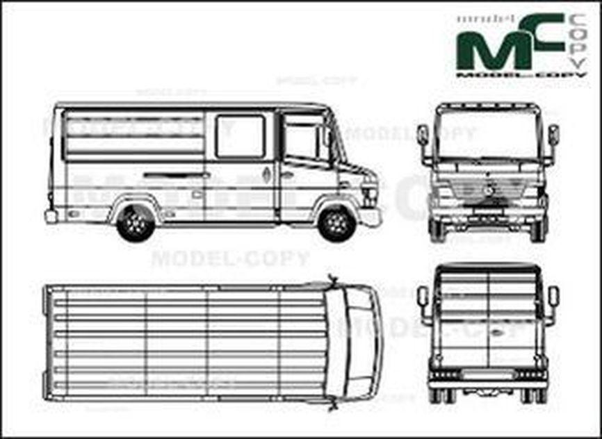 Mercedes-Benz Vario box, long, extra window - drawing