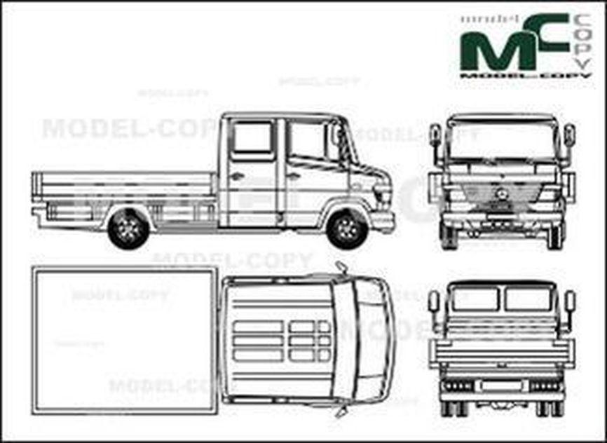 Mercedes-Benz Vario flatbed, double cab, long - 2D drawing (blueprints)