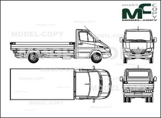 Mercedes-Benz Sprinter, flatbed, normal cab, long wheelbase (2002) - 2D drawing (blueprints)