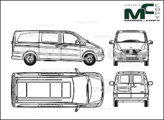 Mercedes-Benz Vito Mixto, long version, 2 sliding doors, rear double doors (2003) - 2D drawing (blueprints)