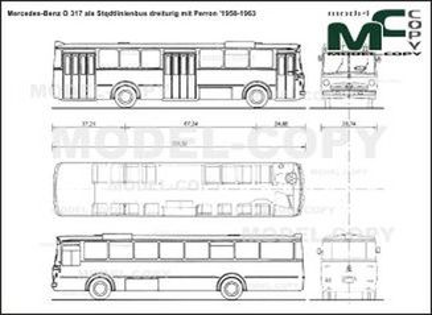 Mercedes-Benz O 317 als Stqdtlinienbus dreiturig mit Perron '1958-1963 - 2D drawing (blueprints)