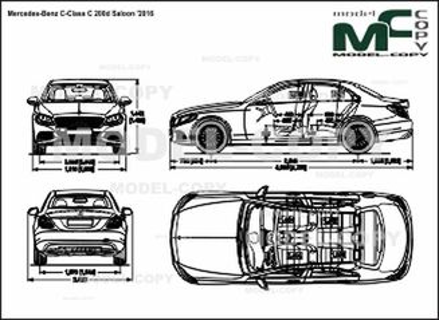Mercedes-Benz C-Class C 200d Saloon '2016 - 2D drawing (blueprints)