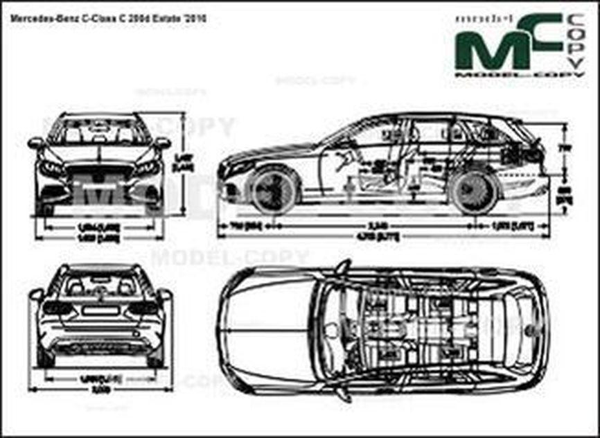 Mercedes-Benz C-Class C 200d Estate '2016 - drawing