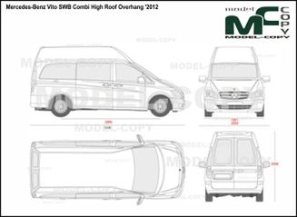 Mercedes-Benz Vito SWB Combi High Roof Overhang '2012 - 2D drawing (blueprints)