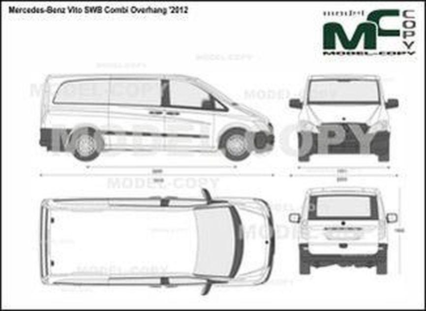 Mercedes-Benz Vito SWB Combi Overhang '2012 - 2D drawing (blueprints)