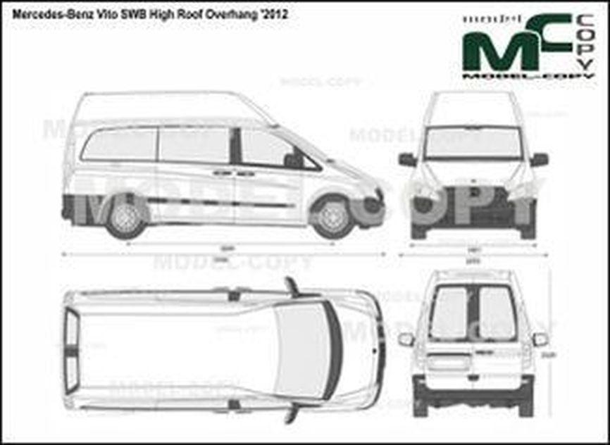 Mercedes-Benz Vito SWB High Roof Overhang '2012 - 2D drawing (blueprints)