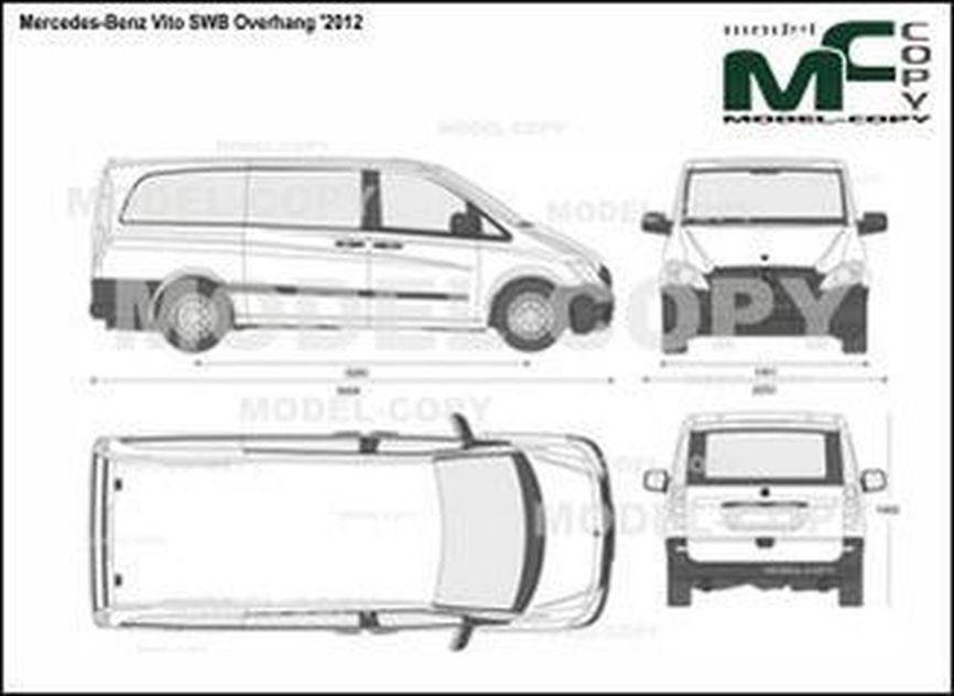 Mercedes-Benz Vito SWB Overhang '2012 - 2D drawing (blueprints)