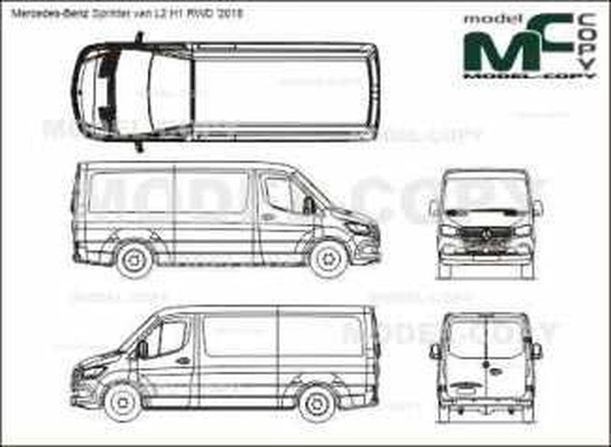 Mercedes-Benz Sprinter van L2 H1 RWD '2018 - 2D drawing (blueprints)