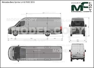 Mercedes-Benz Sprinter van L4 H2 RWD '2018 - drawing