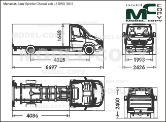 Mercedes-Benz Sprinter Chassis cab L3 RWD '2018 - drawing