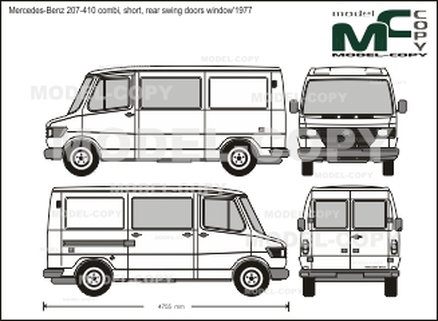 Mercedes-Benz 207-410 combi, short, rear swing doors window'1977 - 2D drawing (blueprints)