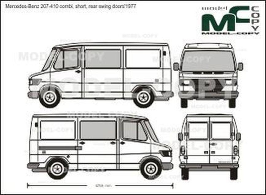 Mercedes-Benz 207-410 combi, short, rear swing doors'1977 - 2D drawing (blueprints)