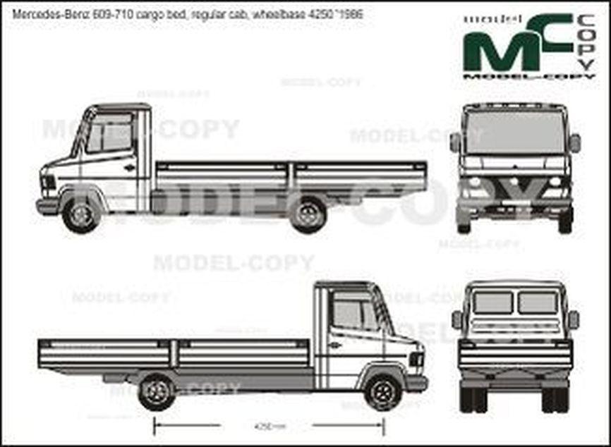 Mercedes-Benz 609-710 cargo bed, regular cab, wheelbase 4250 '1986 - Desenho 2D