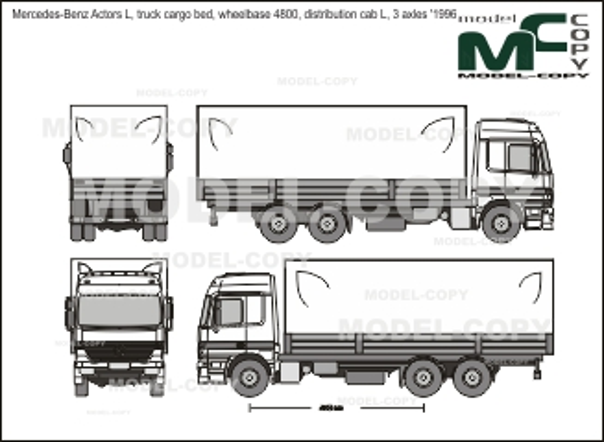 Mercedes-Benz Actors L, truck cargo bed, wheelbase 4800, distribution cab L, 3 axles '1996 - 2D-чертеж