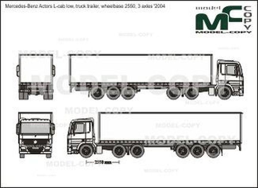 Mercedes-Benz Actors L-cab low, truck trailer, wheelbase 2550, 3 axles '2004 - 2D drawing (blueprints)