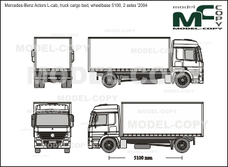 Mercedes-Benz Actors L-cab, truck cargo bed, wheelbase 5100, 2 axles '2004 - 2D drawing (blueprints)
