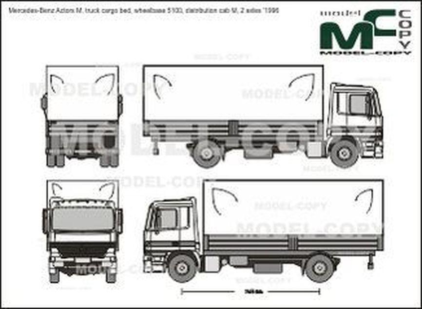 Mercedes-Benz Actors M, truck cargo bed, wheelbase 5100, distribution cab M, 2 axles '1996 - Desenho 2D