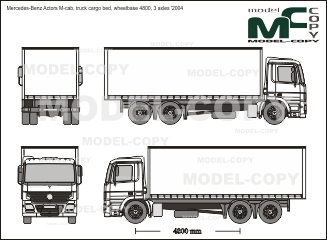 Mercedes-Benz Actors M-cab, truck cargo bed, wheelbase 4800, 3 axles '2004 - Disegno 2D