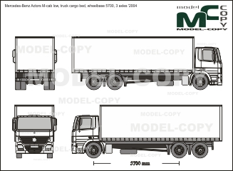 Mercedes-Benz Actors M-cab low, truck cargo bed, wheelbase 5700, 3 axles '2004 - 2D-чертеж