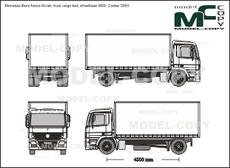 Mercedes-Benz Actors M-cab, truck cargo bed, wheelbase 4800, 2 axles '2004 - 2D tekening