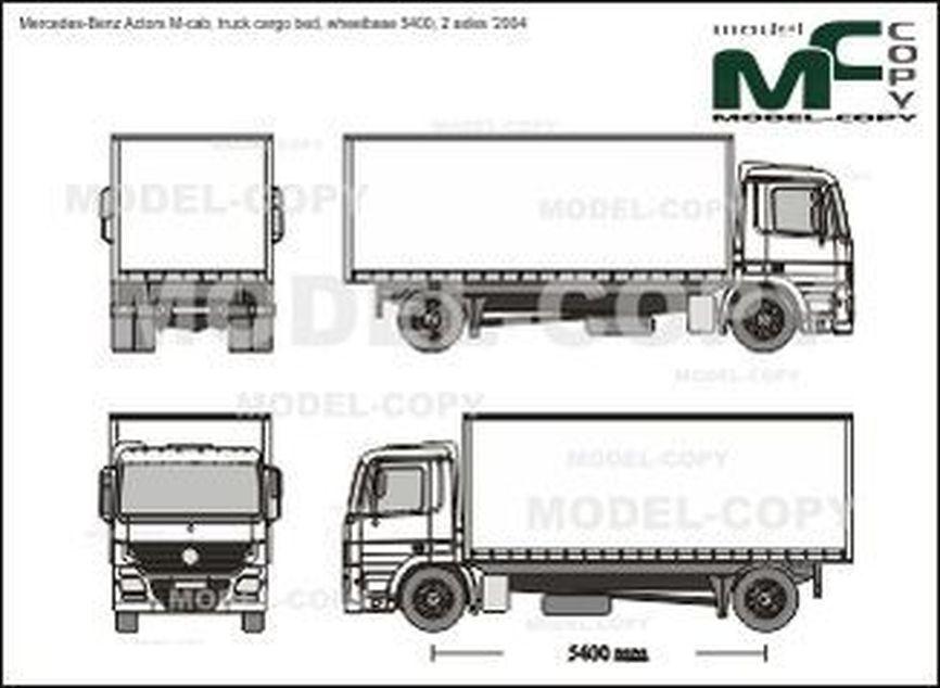 Mercedes-Benz Actors M-cab, truck cargo bed, wheelbase 5400, 2 axles '2004 - Rysunek 2D