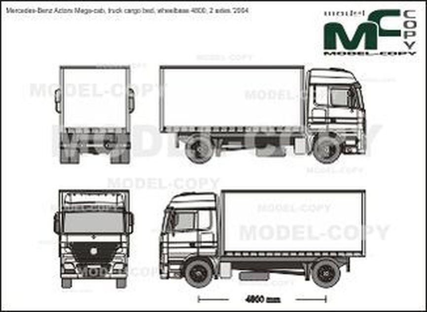 Mercedes-Benz Actors Mega-cab, truck cargo bed, wheelbase 4800, 2 axles '2004 - 2D drawing (blueprints)