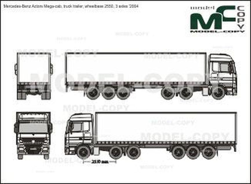 Mercedes-Benz Actors Mega-cab, truck trailer, wheelbase 2550, 3 axles '2004 - 2D drawing (blueprints)