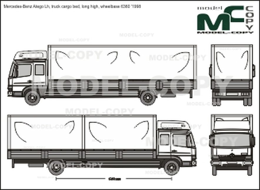 Mercedes-Benz Atego Lh, truck cargo bed, long high, wheelbase 6360 '1998 - 2D drawing (blueprints)