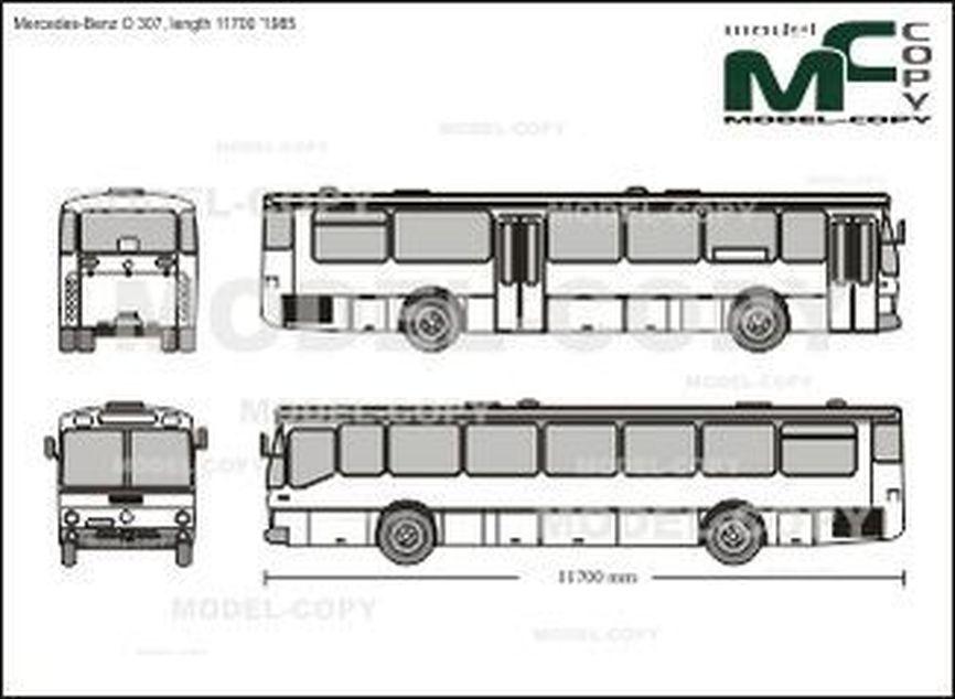 Mercedes-Benz O 307, length 11700 '1985 - 2D drawing (blueprints)