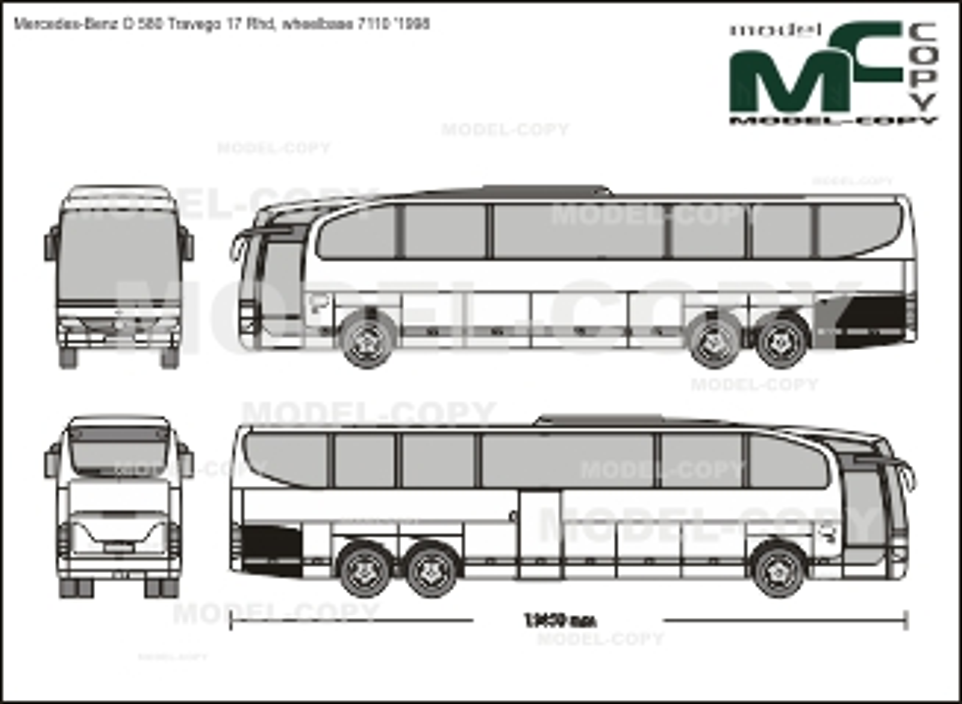 Mercedes-Benz O 580 Travego 17 Rhd, wheelbase 7110 '1998 - 2D drawing (blueprints)